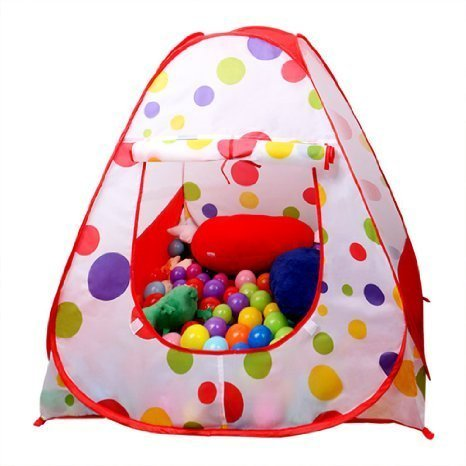 newest f7df7 e279c FocuSun Children Play Tent Indoor and Outdoor Easy Folding Polka Dot Ball  Pit Play House Baby Beach Tent with Zippered Storage Bag for Kids
