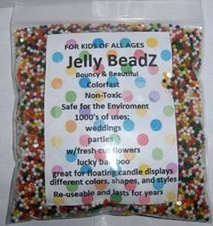 Bright Rainbow Mix LAW JB 8 Ounces For Stress Balls About 20,000 Large Marble Size JellyBeadZ Water Bead Gel